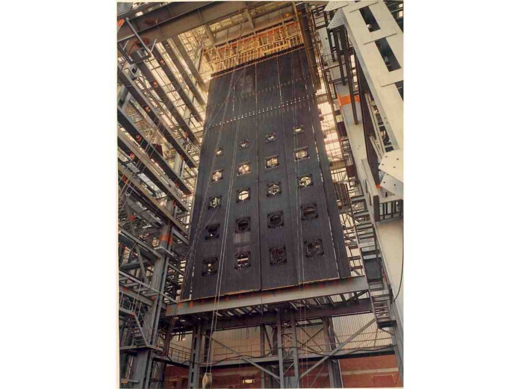 Utility boiler wall with 16 burners holes during assembling